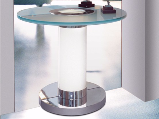 Demilune glass console table CONSOLE 5 by Jean Perzel