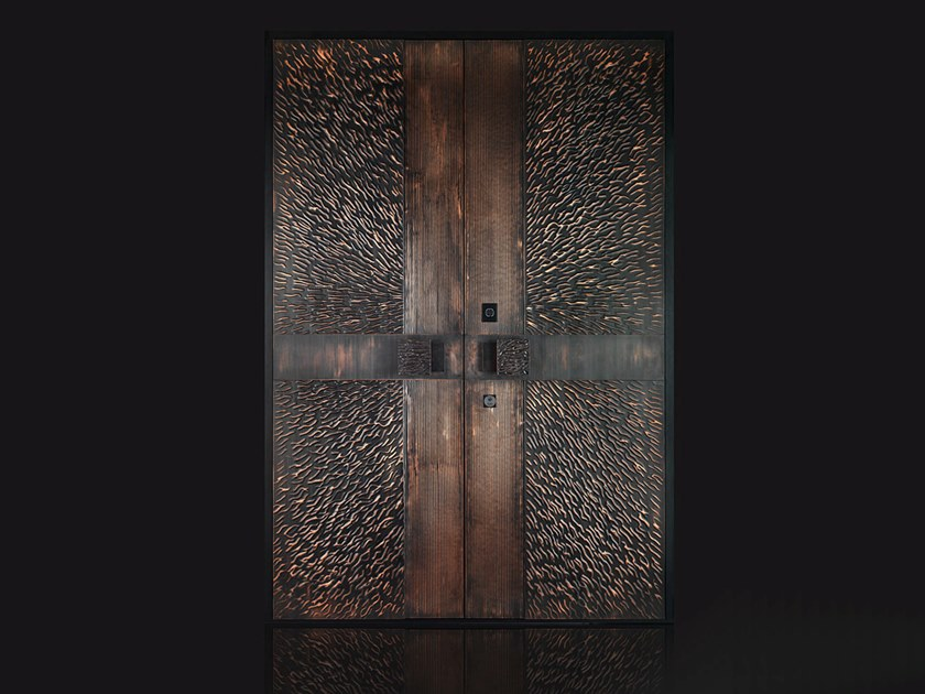 Copper safety door with access control Copper entry door by Ercole