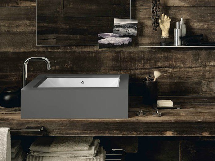 Countertop rectangular Corian® washbasin Corian® REFRESH by DuPont Protection Solutions