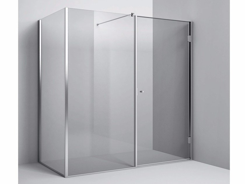Corner shower enclosure with fixed screen and hinged door Corner - Fixed screen and hinged door by Rexa Design