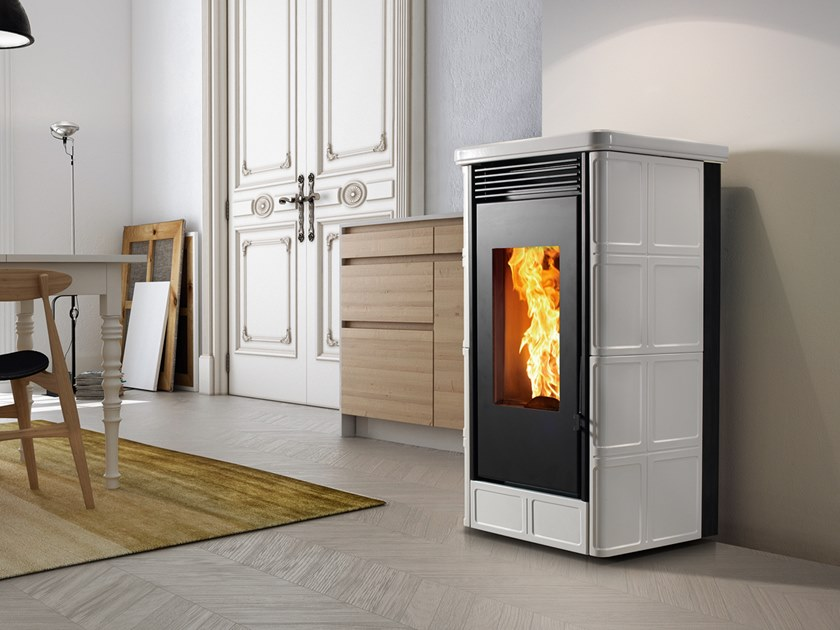 Pellet Class A+ wall-mounted faïence stove COUNTRY XW   Pellet stove by CAMINETTI MONTEGRAPPA