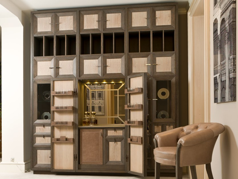 Wooden bar cabinet with integrated lighting D 1494   Bar cabinet by Annibale Colombo