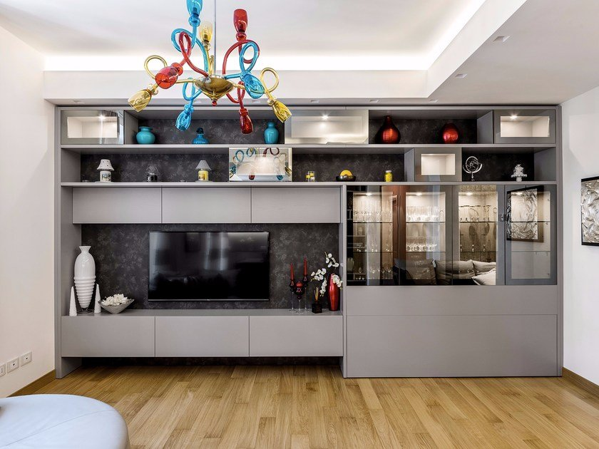 Storage wall with fold-away bed D90 - lacquered Grey oak by TM Italia Cucine