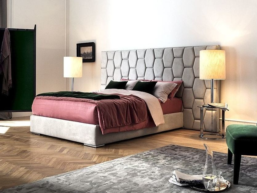 Imitation leather storage bed with upholstered headboard DAFNE by Chaarme