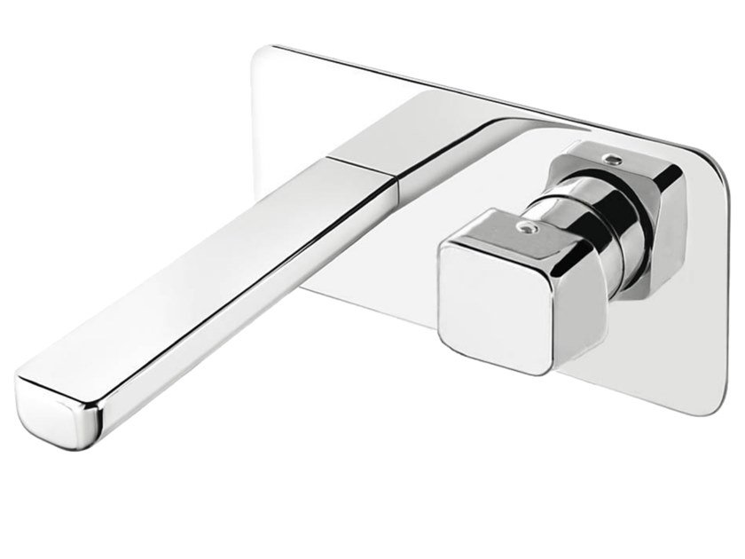 2 hole wall-mounted washbasin mixer with plate DAILY CUBE 45 - 4510108 by Fir Italia