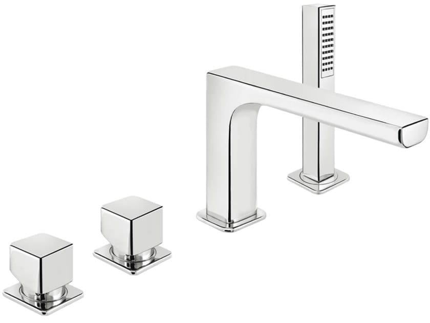 4 hole bathtub mixer with hand shower DAILY CUBE 45 - 4531404 by Fir Italia