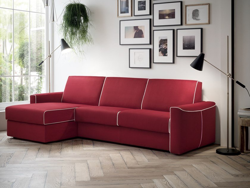 4 seater fabric sofa bed with chaise longue DAKOTA | Sofa bed with chaise longue by Felis