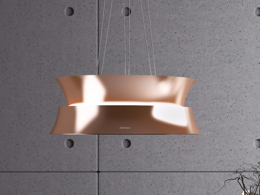 Island hood with activated carbon filters with integrated lighting DAMA by Falmec