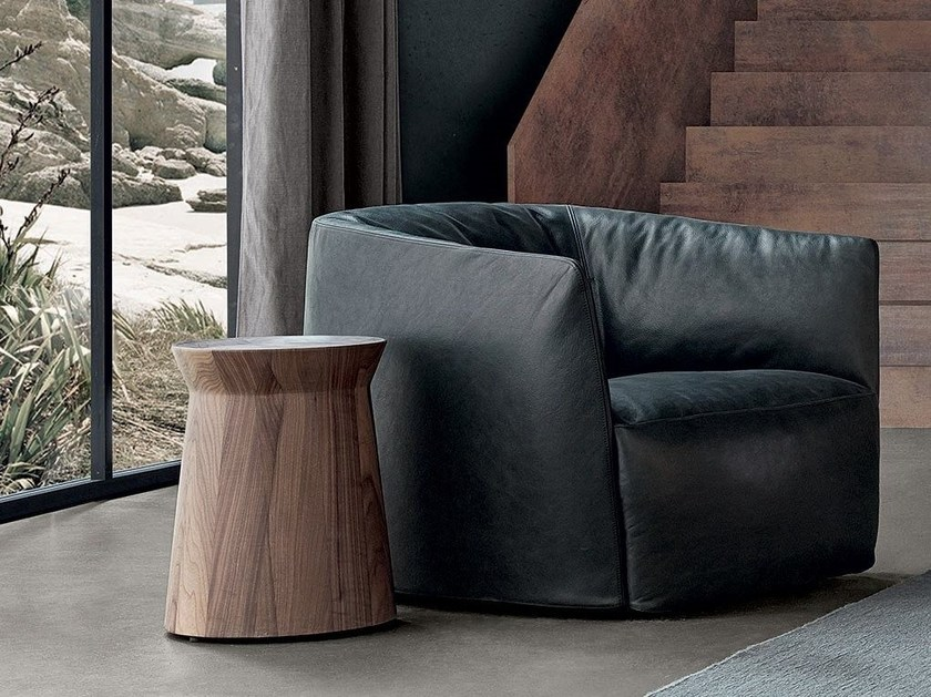 Round solid wood coffee table DAMA by poliform