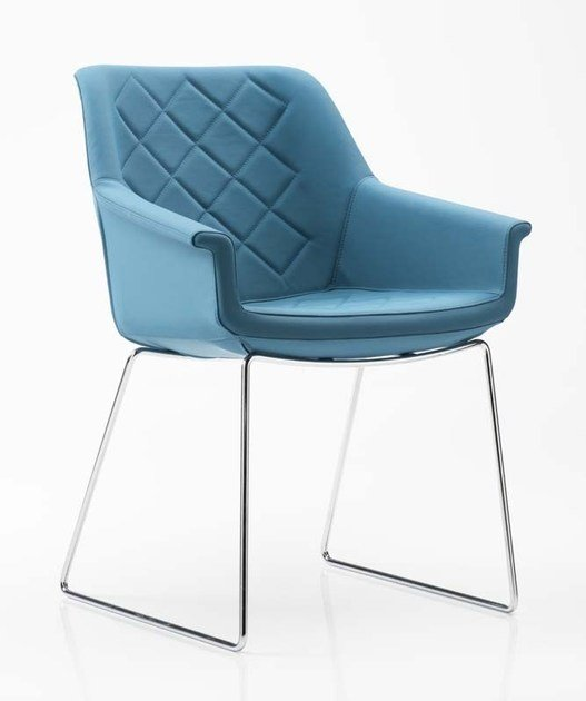 Sled base fabric chair DAMA | Sled base chair by Diemme