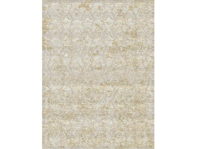 Handmade rectangular rug DAMASK VINTAGE GOLD by Tapis Rouge