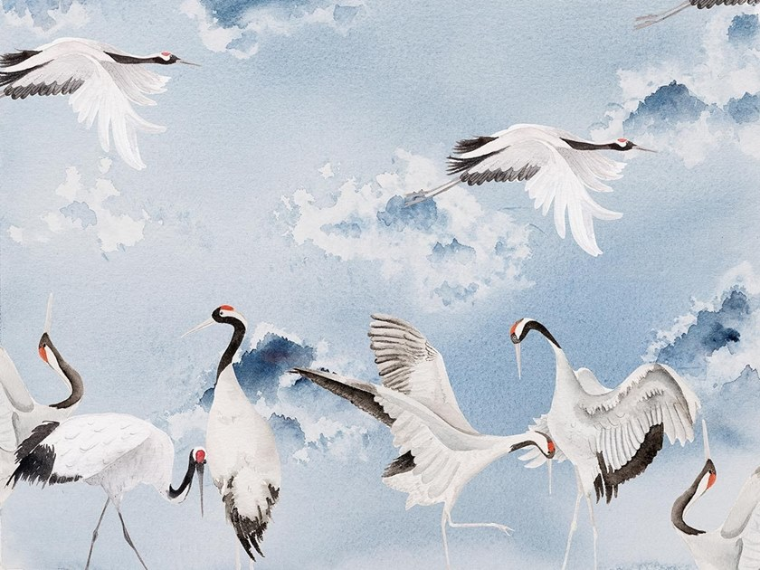 Carta da parati orientale PVC free, eco-friendly, lavabile DANCING CRANES by Wallpepper Group