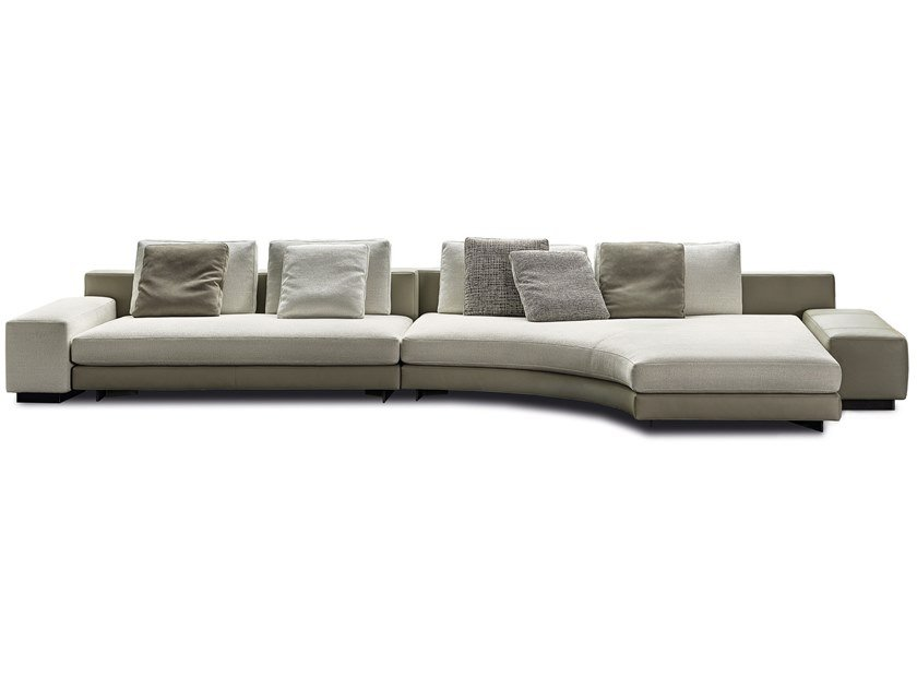 Sectional fabric sofa with chaise longue DANIEL by Minotti
