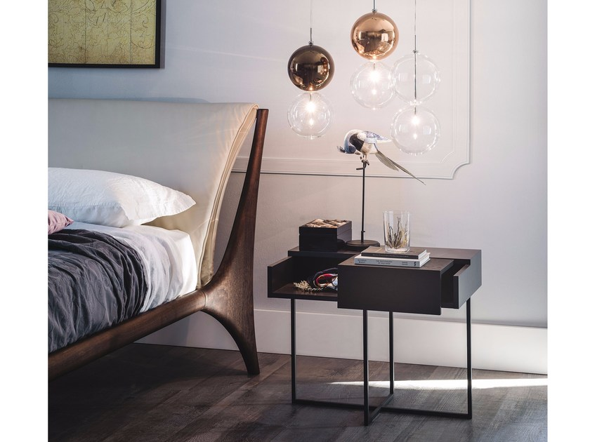 Rectangular steel and wood bedside table DANTE by Cattelan Italia