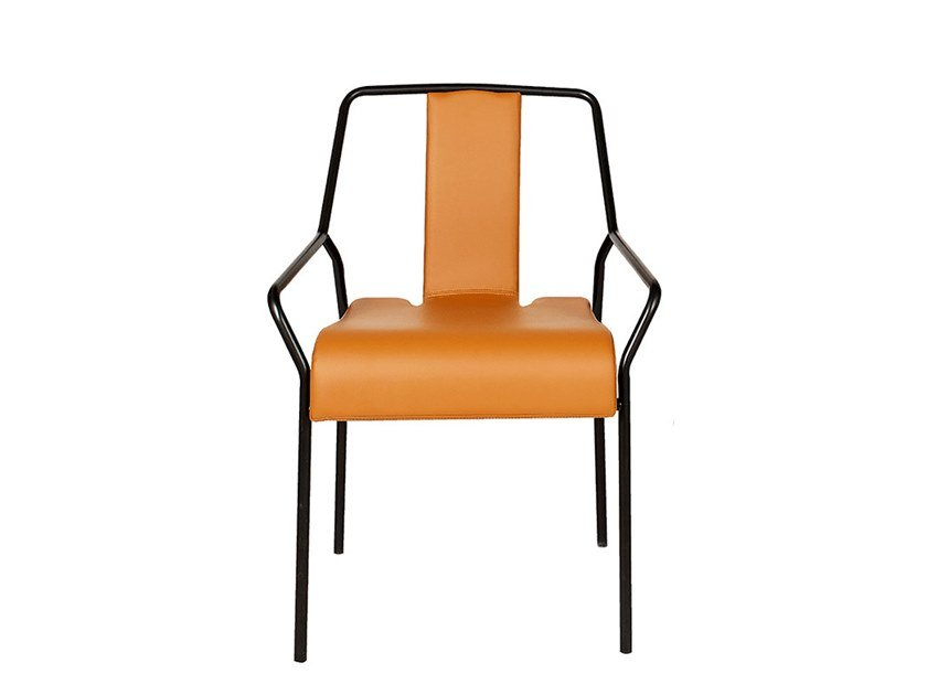 Stackable Eco-leather chair with armrests DAO | Eco-leather chair by COEDITION