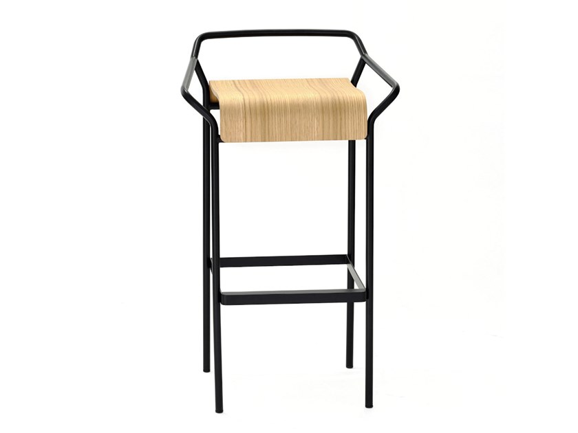 Wooden barstool with footrest DAO | Barstool by COEDITION