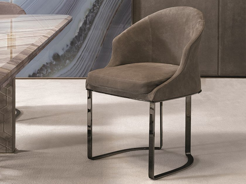 Upholstered leather chair DAPHNE by Longhi