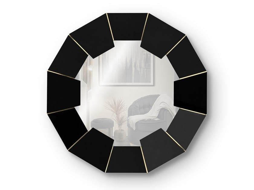 Round framed wall-mounted wooden mirror DARIAN BLACK | Mirror by LUXXU