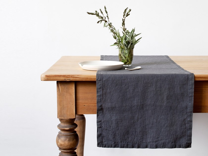 Washed linen table runner DARK GREY | Table runner by Linen Tales