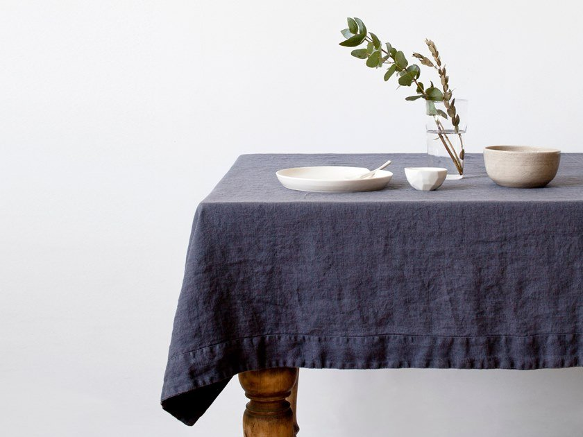 Washed linen tablecloth DARK GREY | Tablecloth by Linen Tales