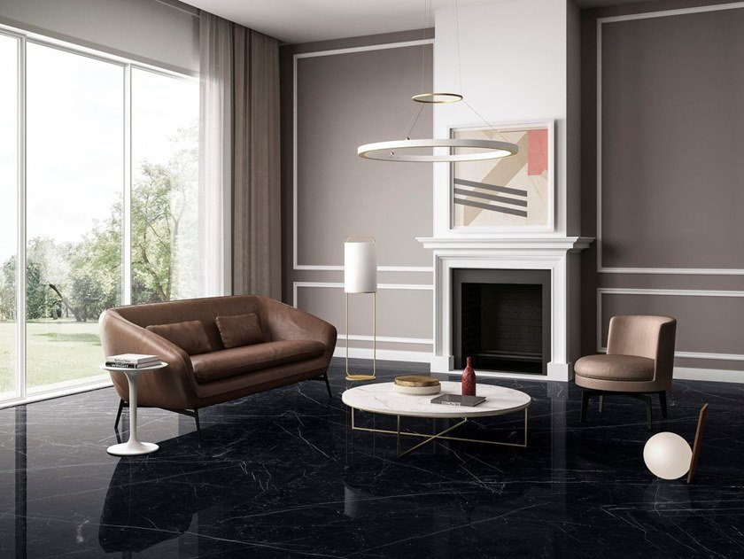 Porcelain stoneware wall/floor tiles with marble effect DARK MARQUINA by GranitiFiandre