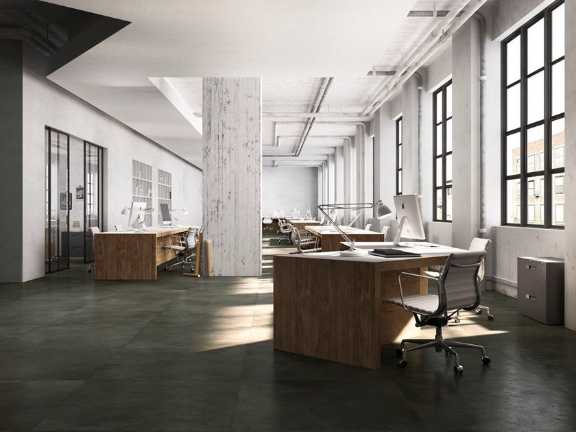 Porcelain stoneware wall/floor tiles with concrete effect with resin effect DARK RESIN by GranitiFiandre