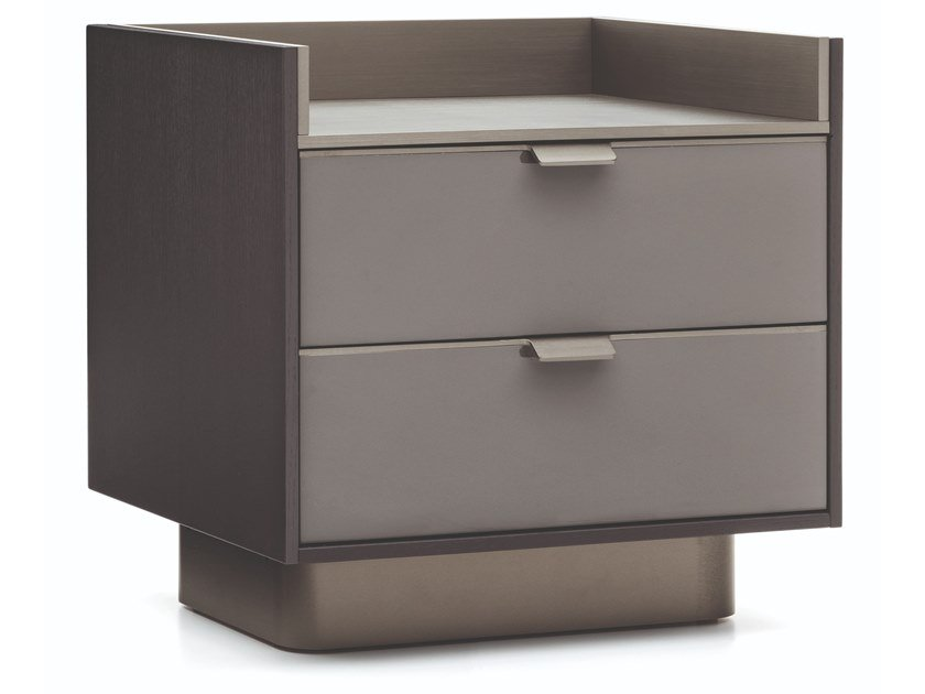 Lacquered wooden bedside table with drawers DARREN | Bedside table by Minotti