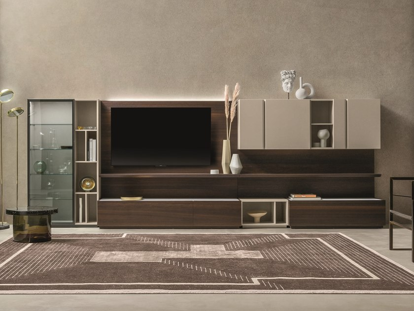 Sectional oak TV wall system DAY MOOVE | Composition M104 by ZANETTE