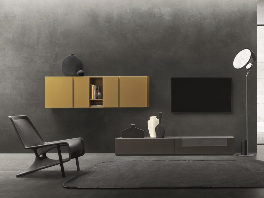 Sectional wall-mounted lacquered storage wall DAY MOOVE   Composition M106 by ZANETTE