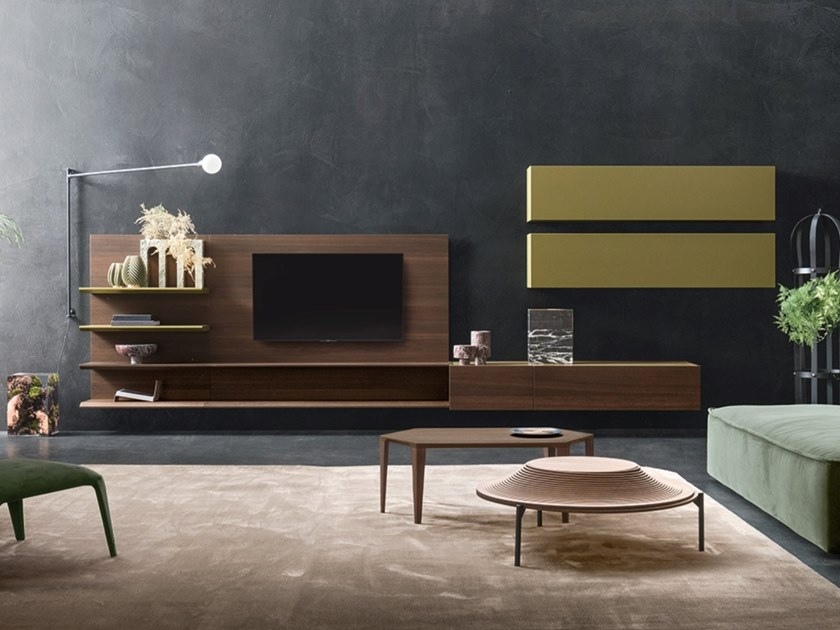 Sectional oak TV wall system DAY MOOVE | Composition M107 by ZANETTE