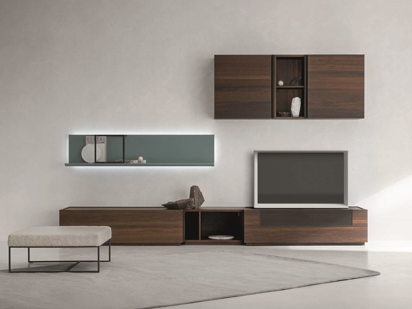 Sectional wall-mounted oak storage wall DAY MOOVE   Composition M110 by ZANETTE