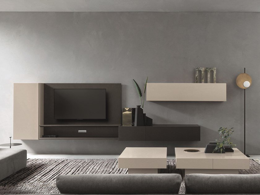 Sectional lacquered TV wall system DAY MOOVE | Composition M111 by ZANETTE
