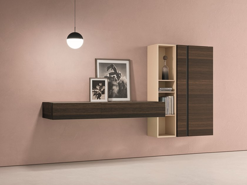 Sectional wall-mounted oak storage wall DAY MOOVE   Composition M501 by ZANETTE