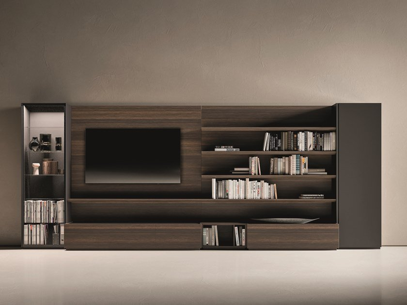 Sectional oak TV wall system DAY MOOVE | Composition M512 by ZANETTE