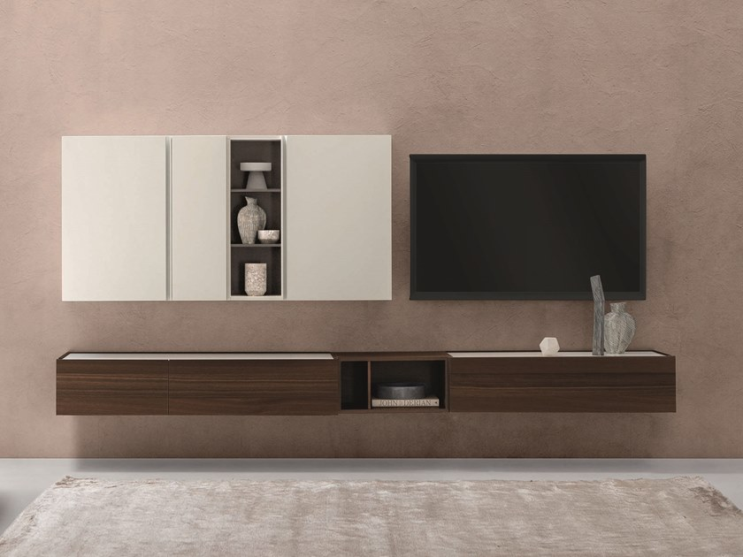 Wall-mounted lacquered oak storage wall DAY MOOVE | Composition M101 by ZANETTE