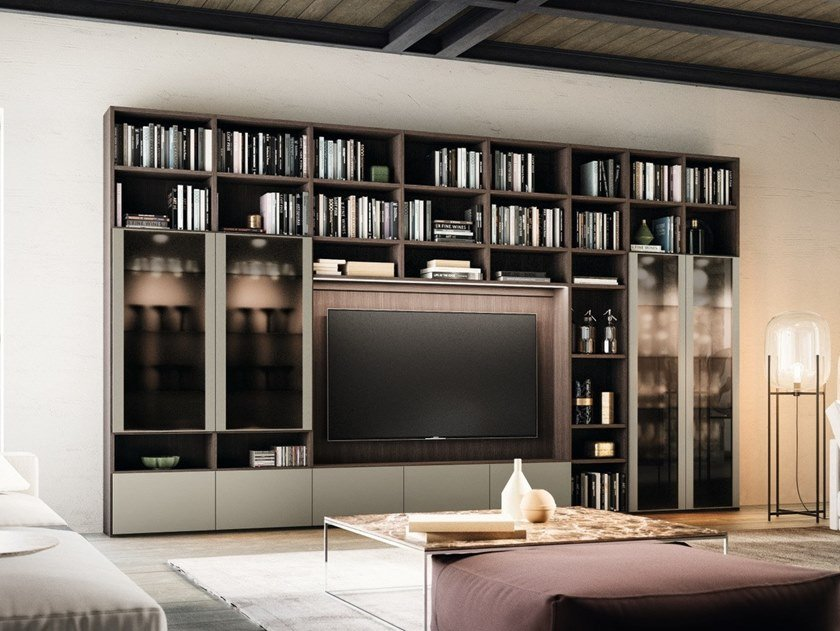 Wall-mounted bookcase with drawers with TV stand DAY SYSTEM 02 by Composit