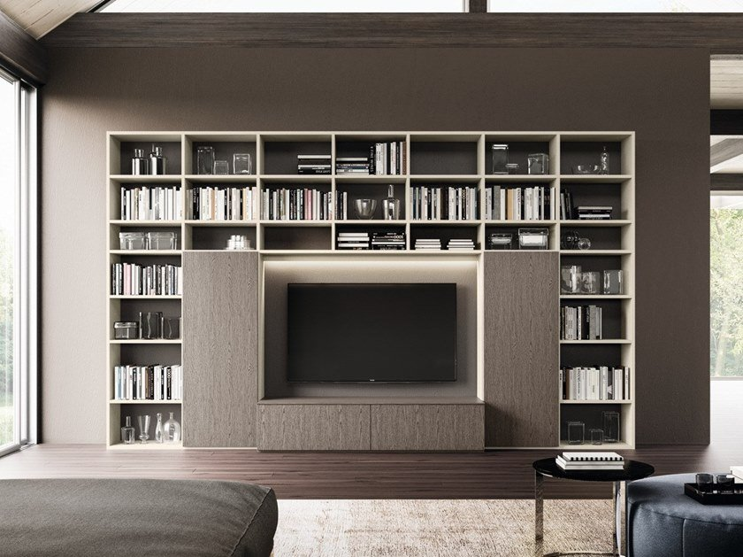 Libreria Con Porta Tv.Libreria A Parete In Legno Con Porta Tv Day System 05 By