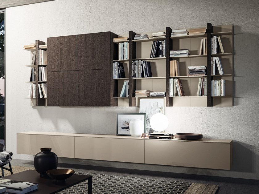 Wall-mounted storage wall DAY SYSTEM 07 by Composit