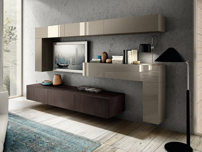 Contemporary style wall-mounted lacquered wooden storage wall DAY SYSTEM 09 by Composit