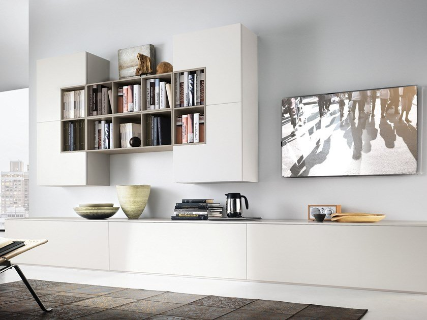 Contemporary style wall-mounted lacquered wooden TV wall system DAY SYSTEM 10 by Composit