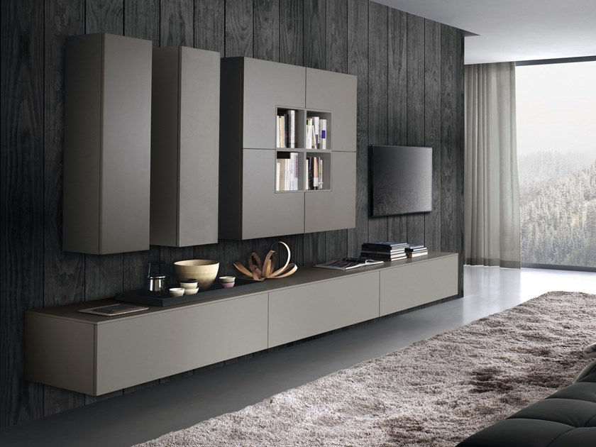 Wall-mounted lacquered wooden storage wall DAY SYSTEM 11 by Composit