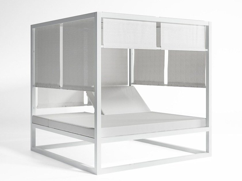 Double recliner canopy thermo lacquered aluminium garden bed DAYBED ELEVADA   Canopy garden bed by GANDIA BLASCO