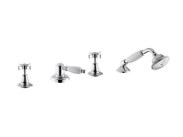 4 hole bathtub set with diverter with hand shower DAYTIME | Deck mounted bathtub tap by newform