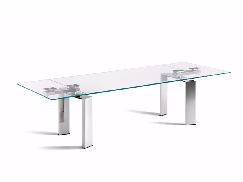 Extending rectangular crystal table DAYTONA by Cattelan Italia
