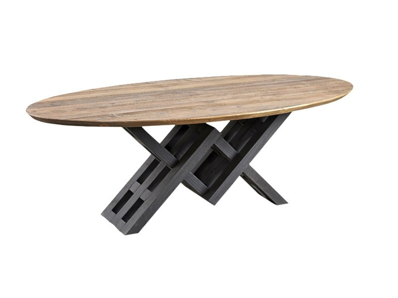 Oval reclaimed wood dining table DB004127 by Dialma Brown