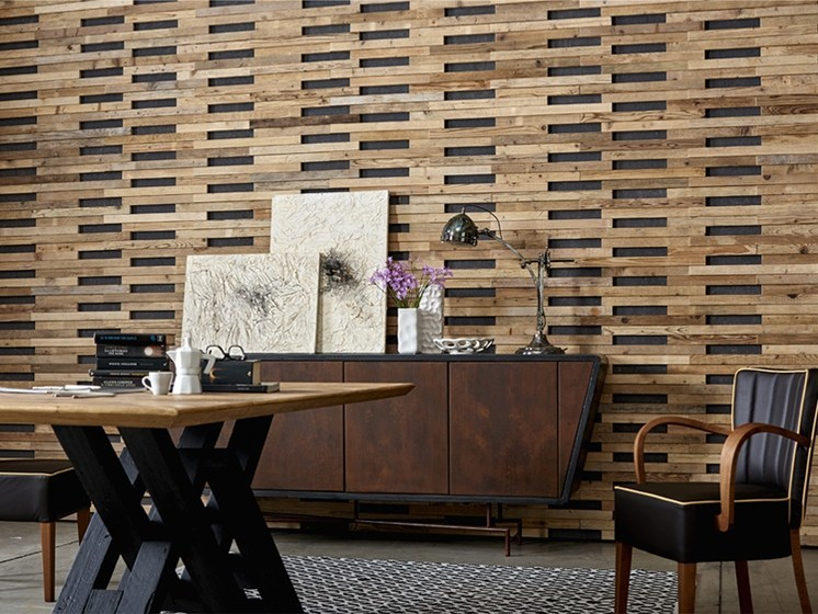 Indoor reclaimed wood wall tiles DB004143 | Wall tiles by Dialma Brown
