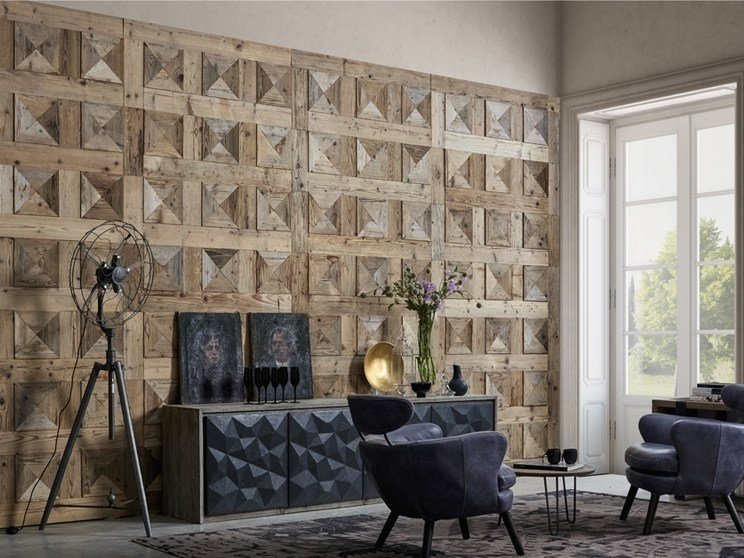 Indoor reclaimed wood wall tiles DB004145 | Wall tiles by Dialma Brown
