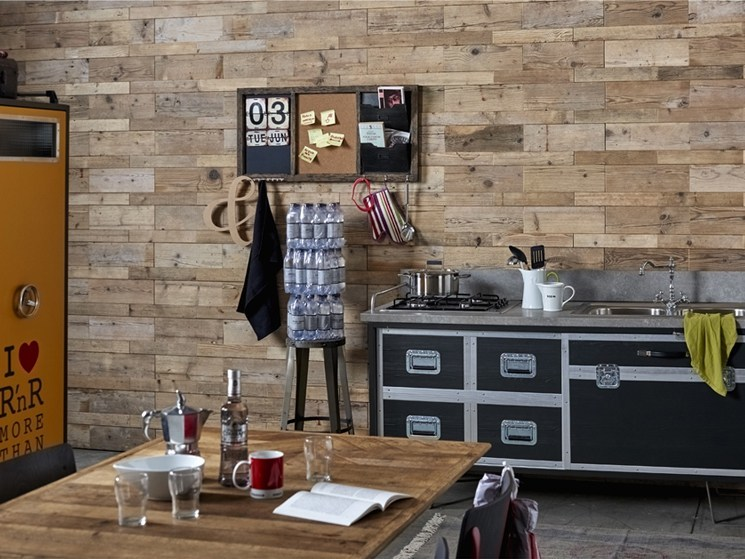 Indoor reclaimed wood wall tiles DB004146 | Wall tiles by Dialma Brown