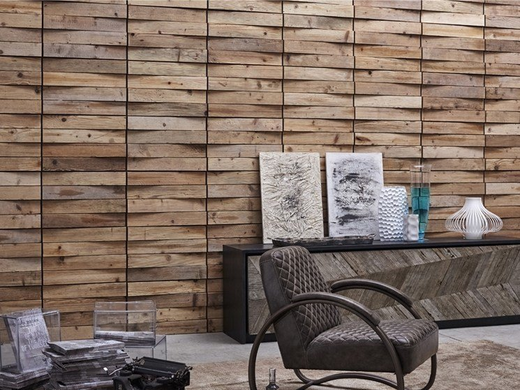 Indoor reclaimed wood wall tiles DB004156 | Wall tiles by Dialma Brown