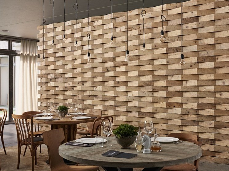 Indoor reclaimed wood wall tiles DB004158 | Wall tiles by Dialma Brown